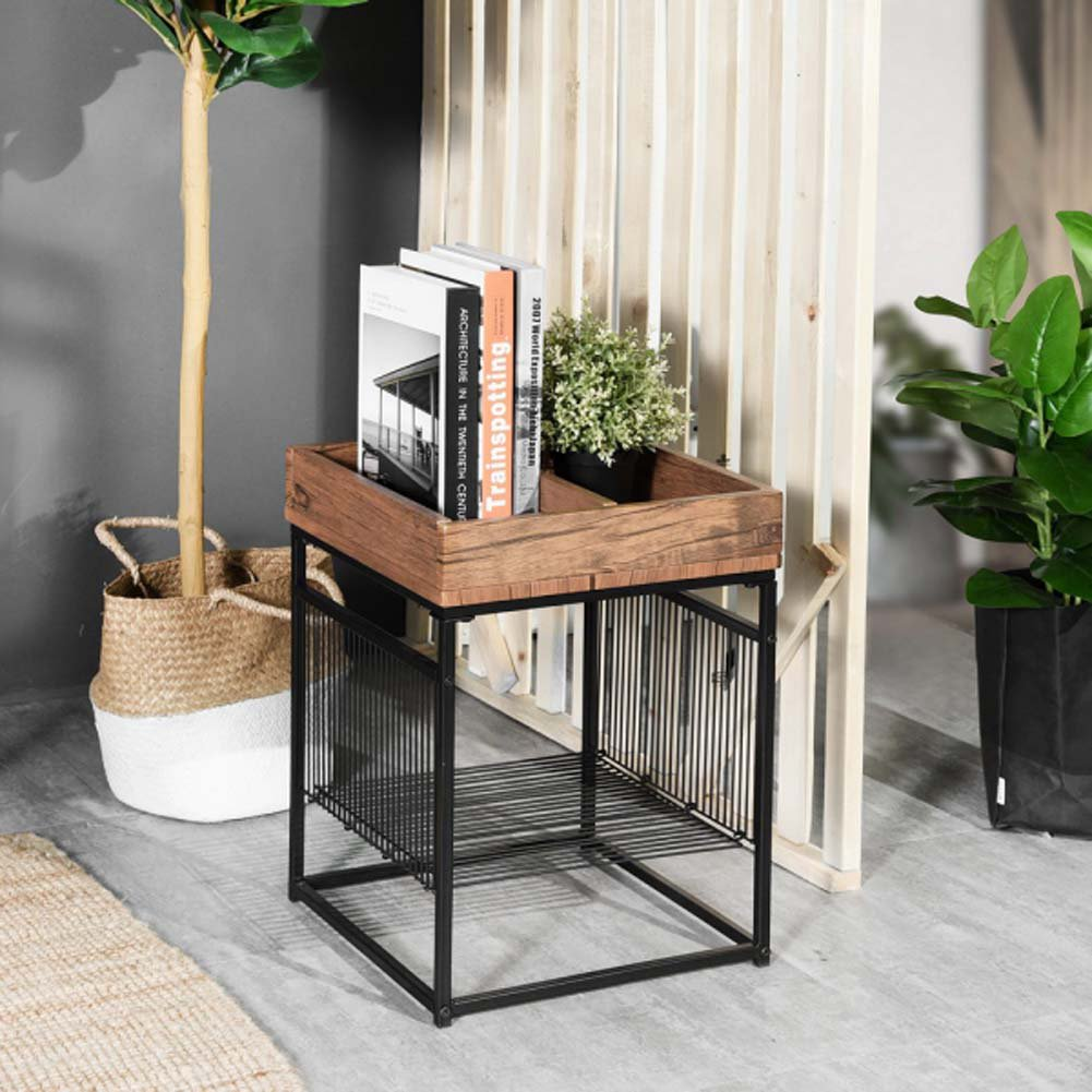 Topcobe End Table 2-Tier Side Table with Storage Shelf Small Tables Living  Room Square Coffee Table Nightstand Metal Frame Bedside Table Multipurpose  ...
