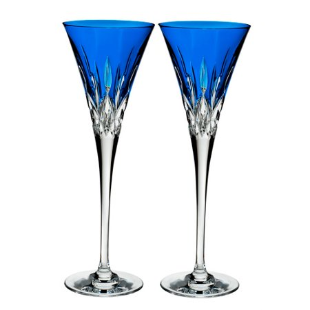 Waterford Crystal Lismore Pops Toasting Flutes, S/2, Cobalt