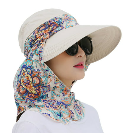 Sun Visor Hat, Coxeer Removable Neck Flap Cover Foldable Sun UV Protection Summer Hat Sun Flap Hat Cap for Women Girl - Hot Superhero Girls