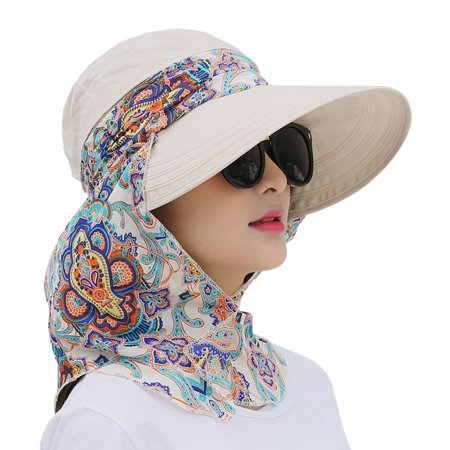 Sun Visor Hat, Coxeer Removable Neck Flap Cover Foldable Sun UV Protection Summer Hat Sun Flap Hat Cap for Women Girl
