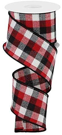 20 Yards RedBlack 1-12-Inch Cabin Natural Woolen Plaid Wired Holiday Christmas Ribbon