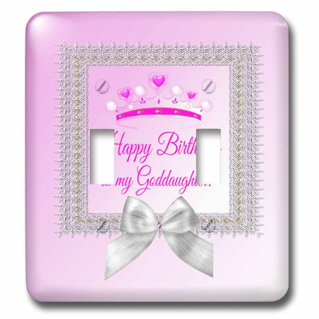 3dRose Princess Crown Silver Frame, Bow, Happy Birthday, Goddaughter, Pink - Double Toggle - Princess Frames