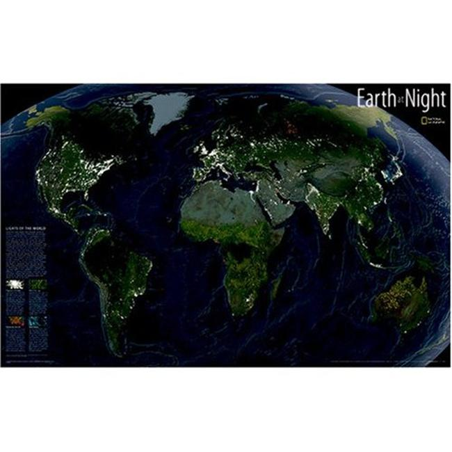 National Geographic RE0620306T Map Of Earth At Night - Tubed