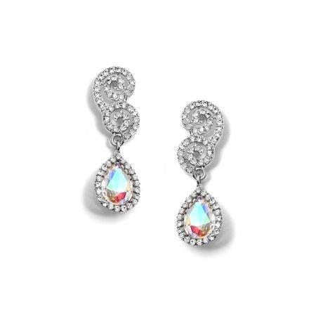 Around Crystal - Rhodium Crystal Rhinestone Double Curl Ends with Dangle Crystal Rhinestones Around a Aurora Borealis Teadrop Stone Earrings