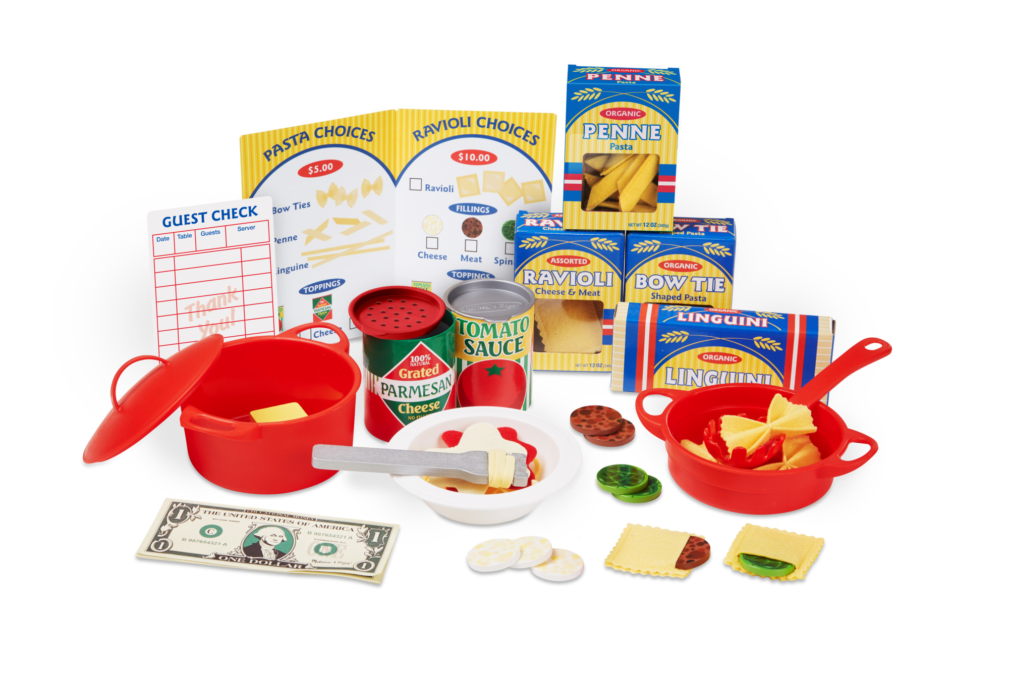 Melissa & Doug 59-Piece Felt Pasta Restaurant Pretend Play Food Set