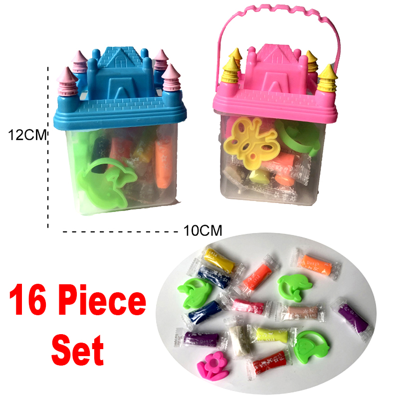 (16 Piece Set) Easter Egg Doh Modeling Clay Kids Play Set Magic Air Dry Dough Colorful Activity Craft Creativity Toy 1 Castle