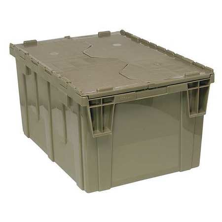 QUANTUM STORAGE SYSTEMS Attached Lid Container,2.44 cu ft,Gray QDC2420-12