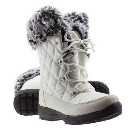 ArcticShield Women's Waterproof Memory Foam Fur Winter Snow Boots White Winter Boots