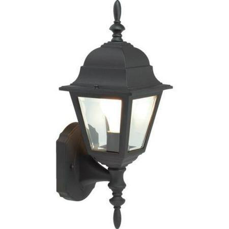 Outdoor Porch Fixture, Black Cast Aluminum, Clear Glass No. 321076 ()