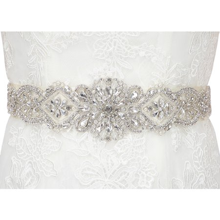 HDE Rhinestone Wedding Bridal Belts and Sashes with Ribbon for Bridal Gown - Wedding Dress Sash