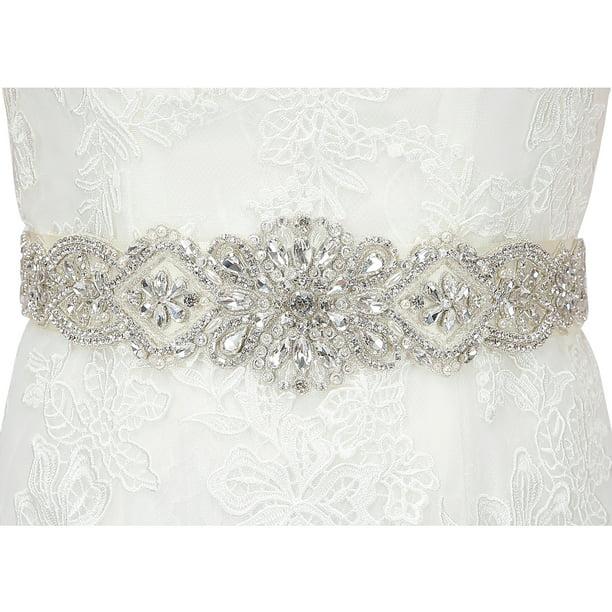 Hde Hde Rhinestone Wedding Bridal Belts And Sashes With Ribbon For Bridal Gown Dress Walmart Com Walmart Com