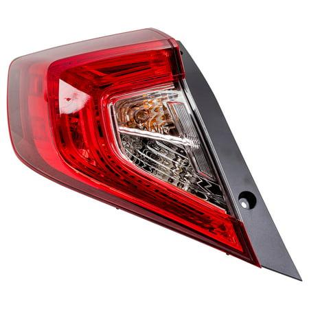 - 16-18 Honda Civic Sedan Drivers Tail Light Outer Left Rear Lamp Assembly 33550TBAA01