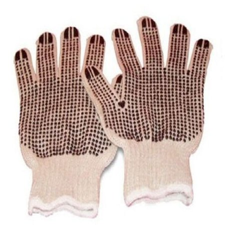 - Cotton Pvc Double Dotted Work Gloves for Men 12 Pairs