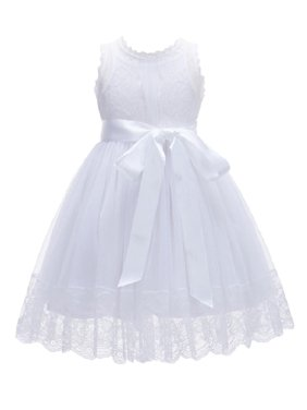 Product Image Ekidsbridal Formal Floral Lace Overlay Cotton Flower Girl Dress Bridesmaid Wedding Pageant Toddler Recital Easter Holiday