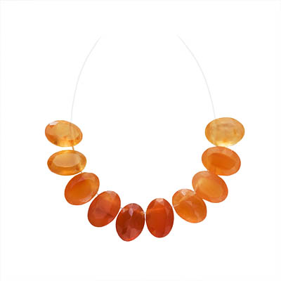Carnelian Gemstone Quality Cut Oval Briolette Beads 7x5mm (10)