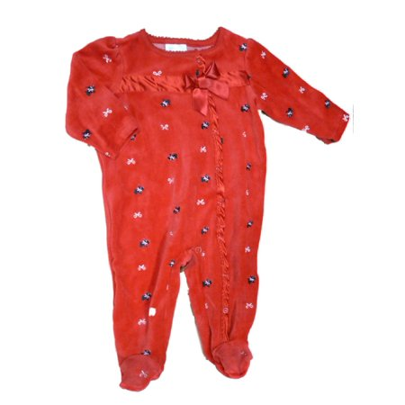Infant Girls Red Velour Scottie Dog Blanket Sleeper Baby Footed Pajamas