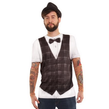 Mens Hipster Vest Tattoo Tee Shirt With Tattoo Mesh Long Sleeves