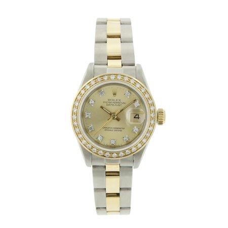 Pre-owned Rolex Ladies Datejust Brown Vignette Diamond Bezel Two Tone 26mm