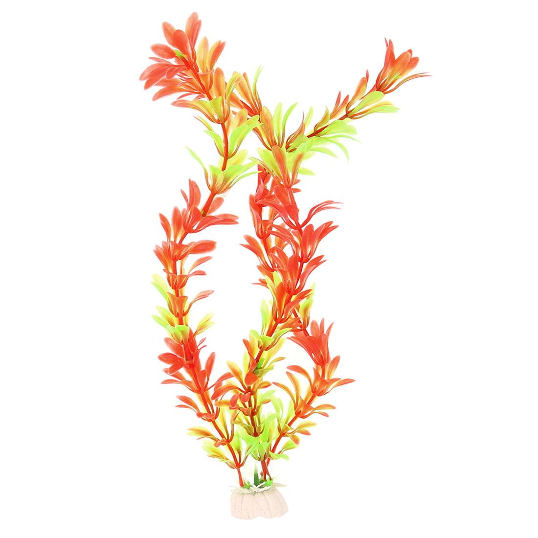 Aquarium Plastic Artificial Plant Grass Decoration Light Green Red 30cm Height