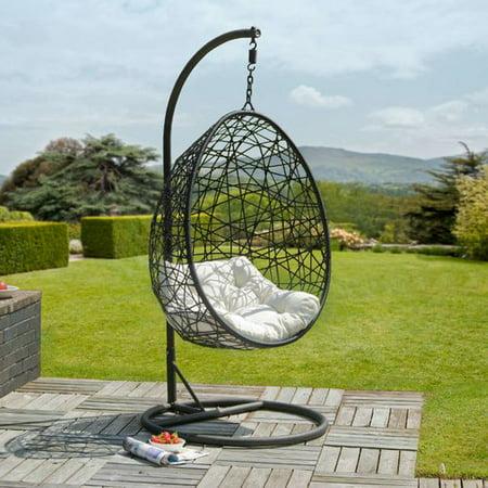 Brayden Studio Colman Rattan Egg Swing Chair with Stand
