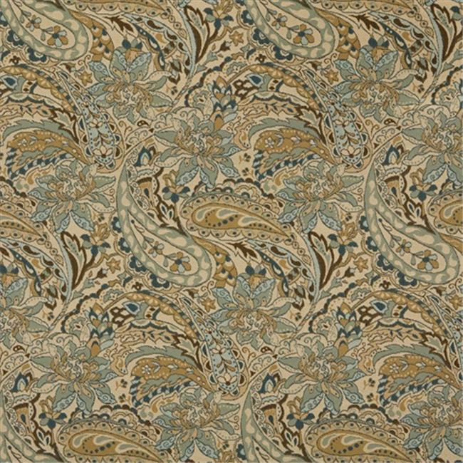 Designer Fabrics K0125A 54 in. Wide Tan, Beige, Brown And Teal Floral And Paisley Woven Solution Dyed Indoor & Outdoor Upholstery Fabric