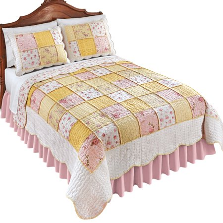 Pink Blissful Shabby Chic Floral Reversible Patchwork Quilt