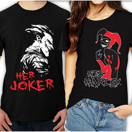 Her Joker His Harley Halloween Couple Matching Funny Cute T-ShirtsHer Joker-Black S