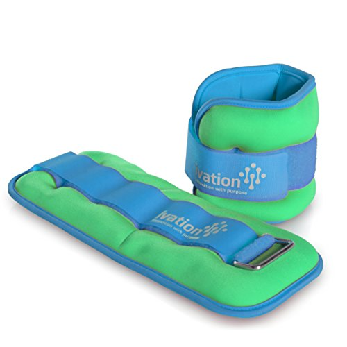 Ivation Premium High-Quality 2 Pound Ankle Weights Set (4 Pounds Total) with Adjustable Ankle & Wrist Cuffs