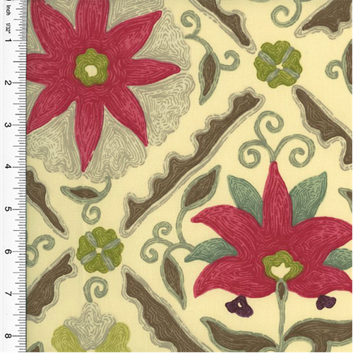 Designer Multicolor Floral Diamond Print Home Decorating Fabric, Fabric By the Yard