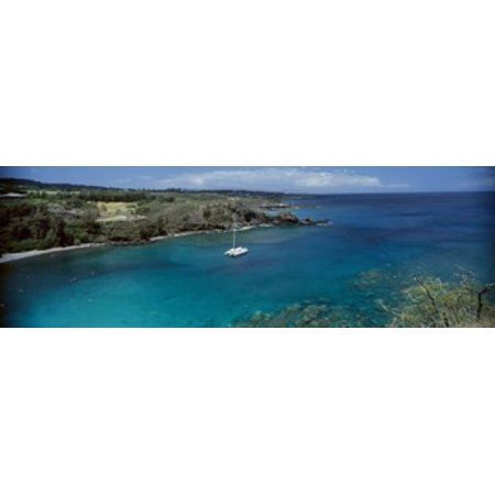 Sailboat in the bay Honolua Bay Maui Hawaii USA Canvas Art - Panoramic Images (36 x 12)