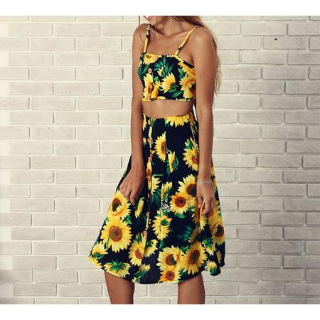 2018 Women Floral Prints Camisole Top Shirt Blouse Skirts 2PCS - Camisole De Force Halloween