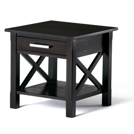 Brooklyn + Max Providence Solid Wood 21 inch Wide Square Contemporary End Side Table in Dark Walnut Brown 4 Square Dark Wood