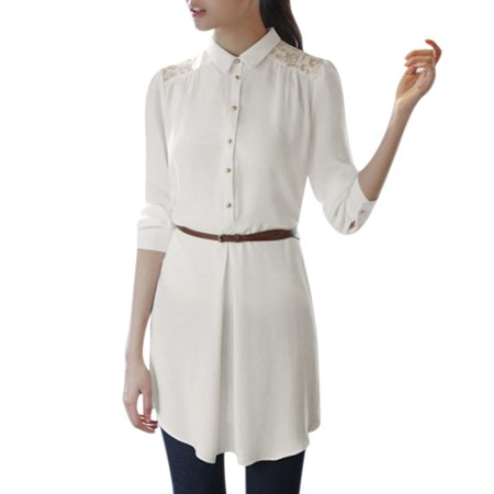 Unique Bargains Womens Long Sleeves Point Collar Lace Spliced Back Shirt Dress W Belt White Xs
