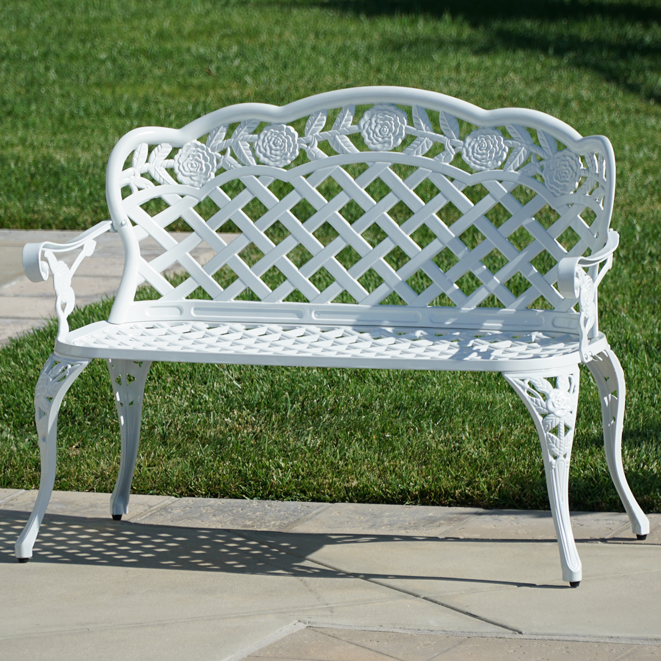 Belleze Outdoor Garden Bench Antique Cast Aluminum Backyard Furniture Patio Porch, White by Belleze