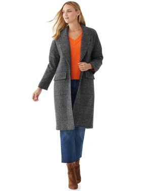 Scoop Women's Long Plaid Coat