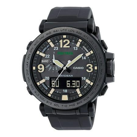 Casio Men's Pro Trek Solar Powered Triple Sensor Watch, Black Resin Strap ()