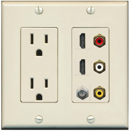 RiteAV - 2 x 15 Amp 125V Power Outlet 3 x RCA - 2 X HDMI and 1 x Coax Cable TV Port Wall Plate Light Almond