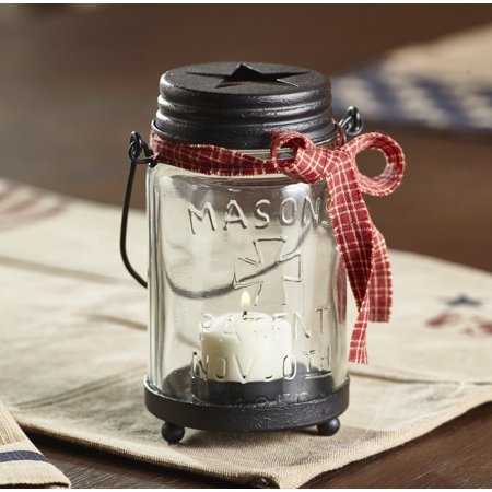 Ornate Metal Base - Primitive Country Mason Jar Votive candle and Tealight Holder With Metal Base