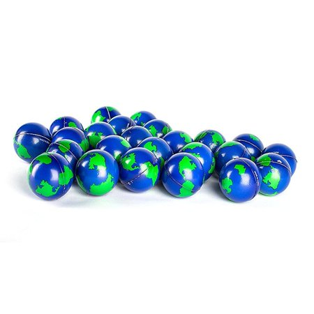 Bulk Lot Of 2 Dozen World Stress Balls Earth Stress Relief Toys Therapeutic Educational Balls 24 Globe Squeeze 2 Stress Balls