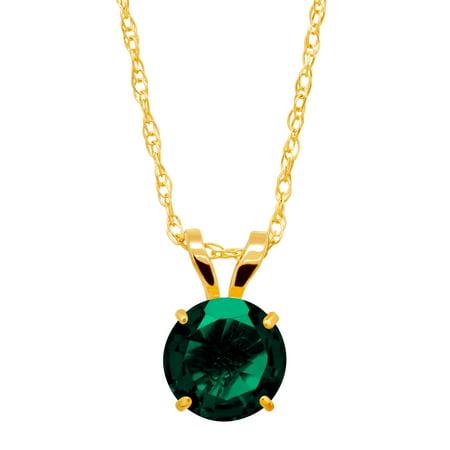 3/4 ct Created Emerald Round-Cut Solitaire Pendant Necklace in 10kt Gold Created Emerald Pendant Necklace