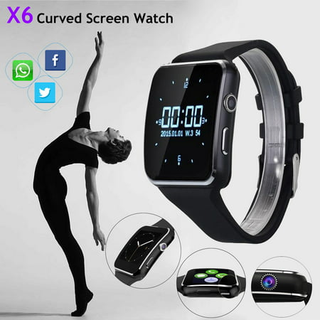 7af7bbb52 X6 Wireless Bluetooth Smart Watch Phone Smart Watch Wristwatch For ios  Android with Camera for Samsung HTC and Other Android Smartphones-Black -  Walmart.com