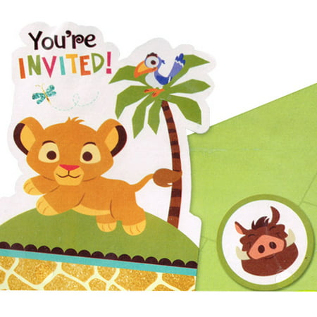 Baby Lion King 'Sweet Circle of Life' Invitation Set w/ Envelopes - Lion King Baby Shower Invitations