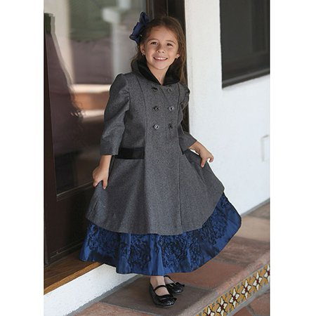 235598b18 Angels Garment Toddler Girls Size 4T Gray Double Breasted Wool Coat ...