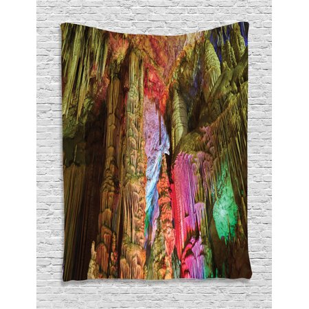 Natural Cave Decorations Wall Hanging Tapestry, Colorful Geological Cistern Rainwater Harvest With Luminous Reflections Picture, Bedroom Living Room Dorm Accessories, By