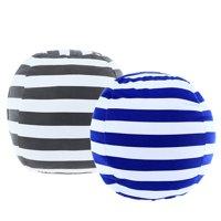 "2 Pack Stuffed Animal Storage Bean Bag Cover 23"" for Kids Room DIY Bean Bag Chairs White Grey Blue Strips"