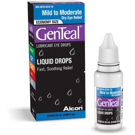 GenTeal Lubricant Eye Drops Moderate Dry Eye Relief [with GenAqua] 25 mL (Pack of 3)