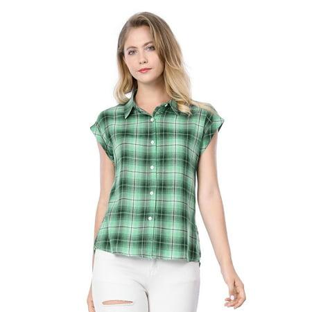 Unique Bargains Women's Button Down Plaids Shirt (Size S / 6) Green (Plaid Skirt Green)