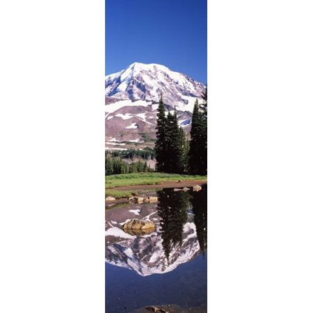 Reflection of a mountain in a lake Mt Rainier Pierce County Washington State USA Poster
