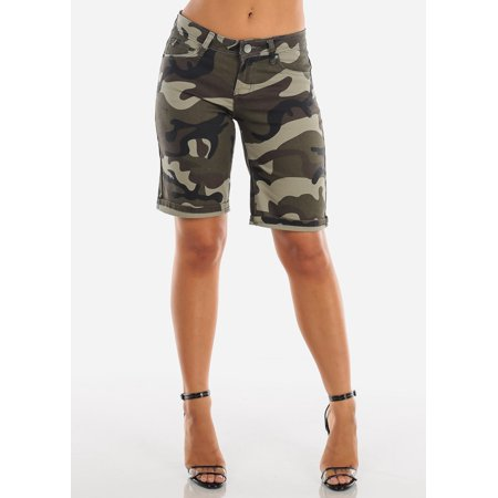 Womens Juniors Fashion Casual Stylish Summer Cute Sexy Low Rise Camouflage Army Print Stretchy Denim Bermuda Shorts 10526W (Camouflage Print Shorts)