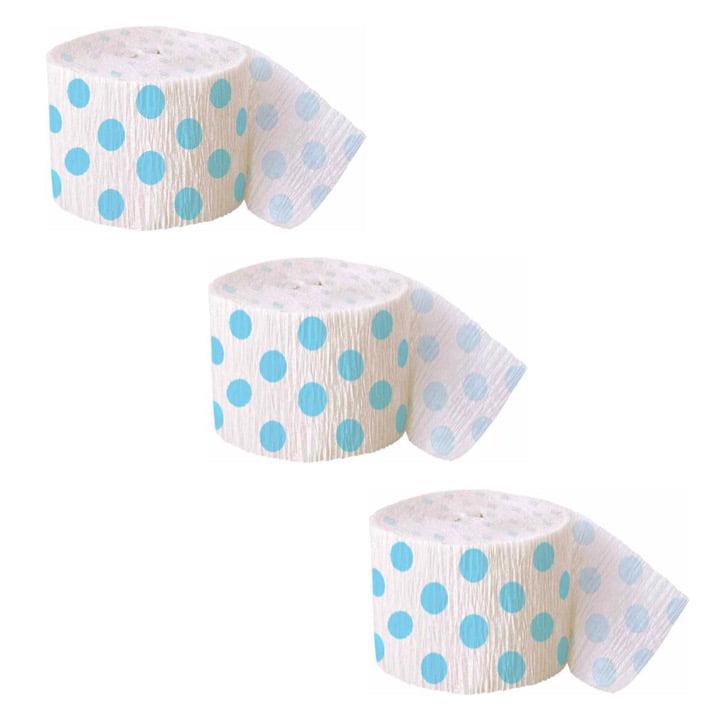 Blue Polka Dot Crepe Paper Streamers, 30ft, 3ct